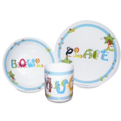 Personalised Blue Animal Alphabet Breakfast Set